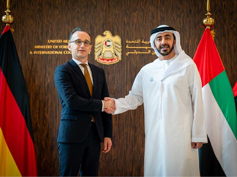 German Foreign Minister Heiko Maas, with Abdullah Bin Zayed