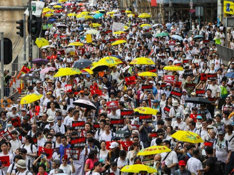Hong Kong protesters on Sunday organised the biggest rally