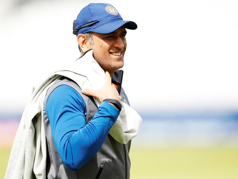 India's MS Dhoni during nets at The Oval,