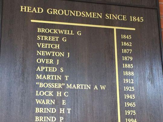 Names of all head groundmen