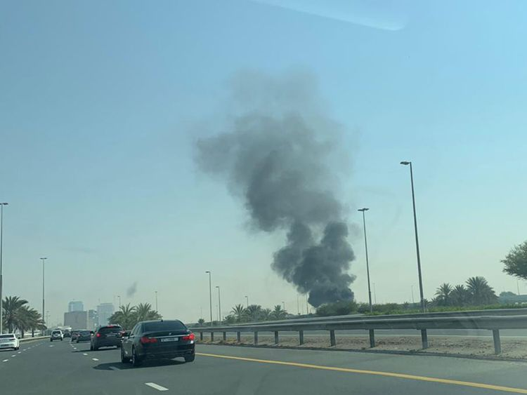 bus on fire- abu dhabi exit