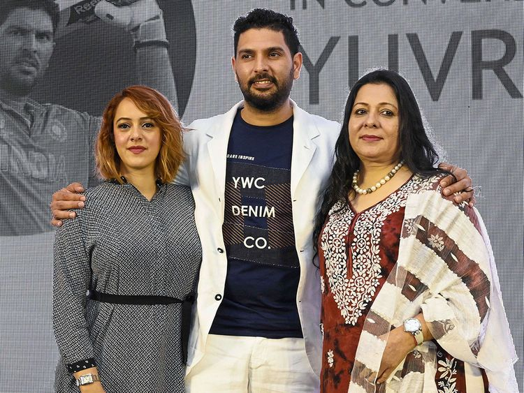 Yuvraj Singh with his mother Shabnam and wife Hazel Keech