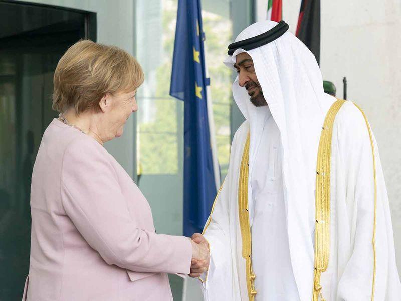 Mohammad Bin Zayed with Angela Merkel 20190612