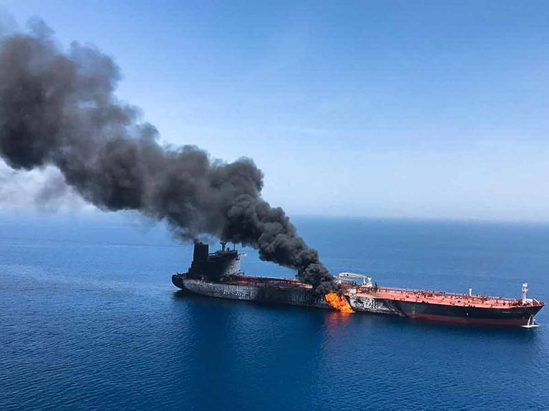 An oil tanker is on fire in the sea of Oman 20190613