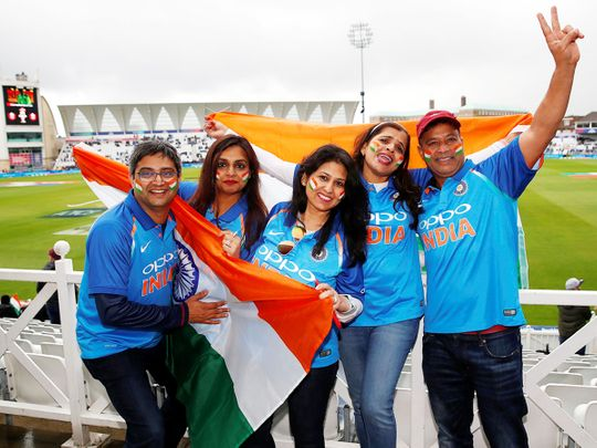 India fans pose for photos