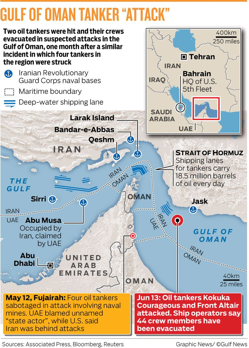 Ships operating in Gulf region urged to take extreme caution after attack on two oil tankers