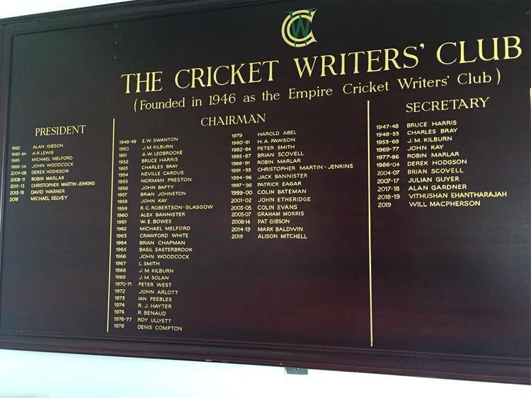 The Cricket Writers' Club board inside the press box