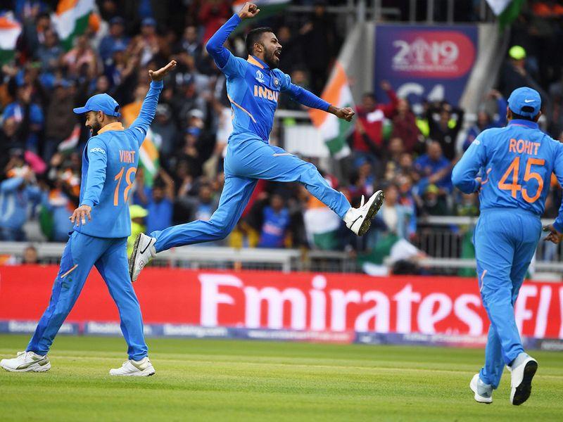 India's Hardik Pandya celebrates