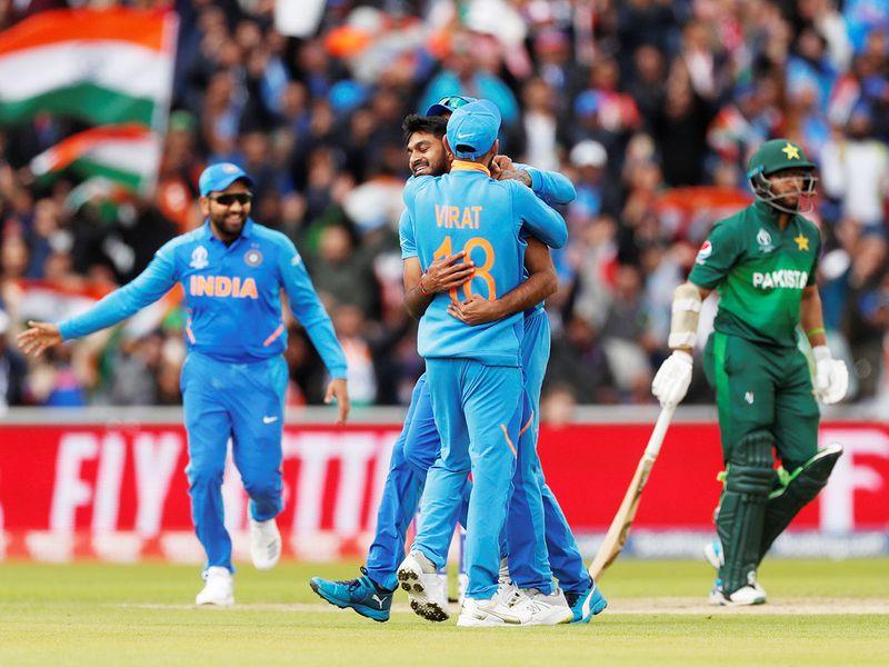 India's Vijay Shankar celebrates the wicket of Pakistan's Imam-ul-Haq