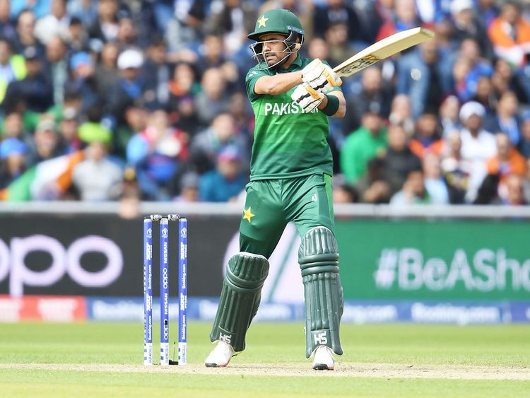 Pakistan's Babar Azam plays a shot
