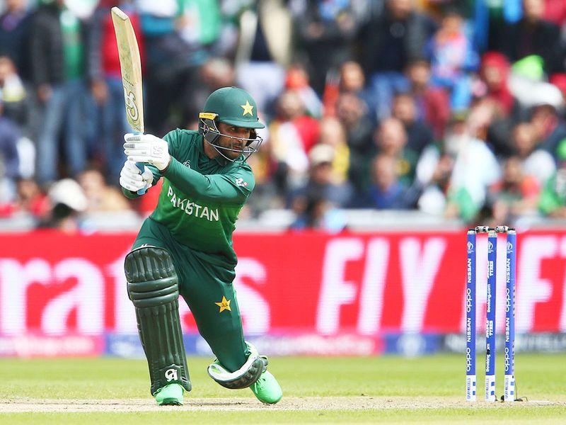 Pakistan's Fakhar Zaman plays a shot