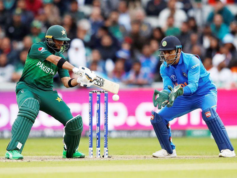 Pakistan's Imad Wasim in plays a shot