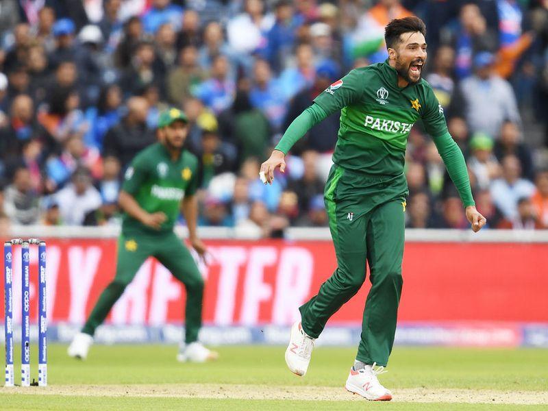 Pakistan's Mohammad Amir reacts