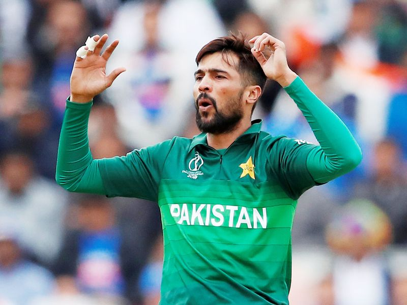 Pakistan's Mohammad Amir reacts during the matc