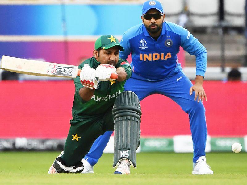 Pakistan's captain Sarfaraz Ahmed plays a shot