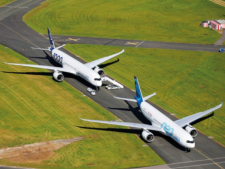 An Airbus A350-1000 and an Airbus A330 NEO