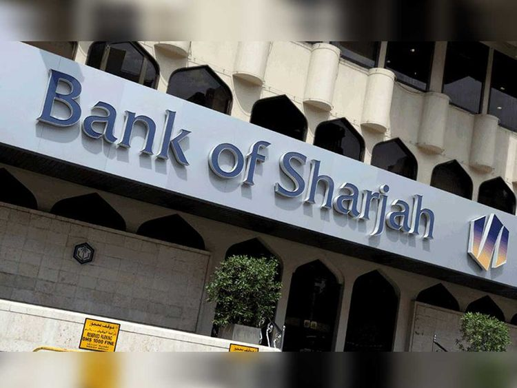 Facade of a Bank of Sharjah branch.