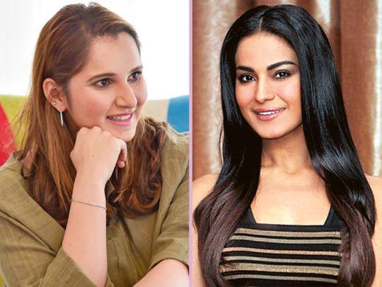Sania Mirza (left) and Veena Malik