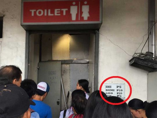 Serpentine queues toilet for a fee