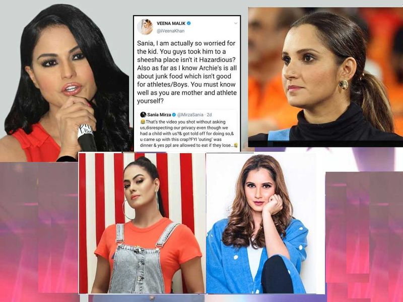 Veena Malik (left) with her tweet (inset )and Sania Mirza (right) 2