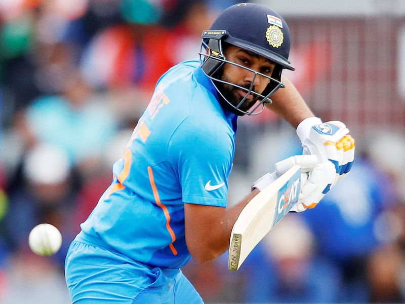 India's Rohit Sharma plays a shot