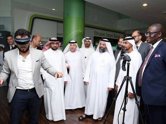 Senior etisalat officials at a recent virtual reality demonstration with 5G