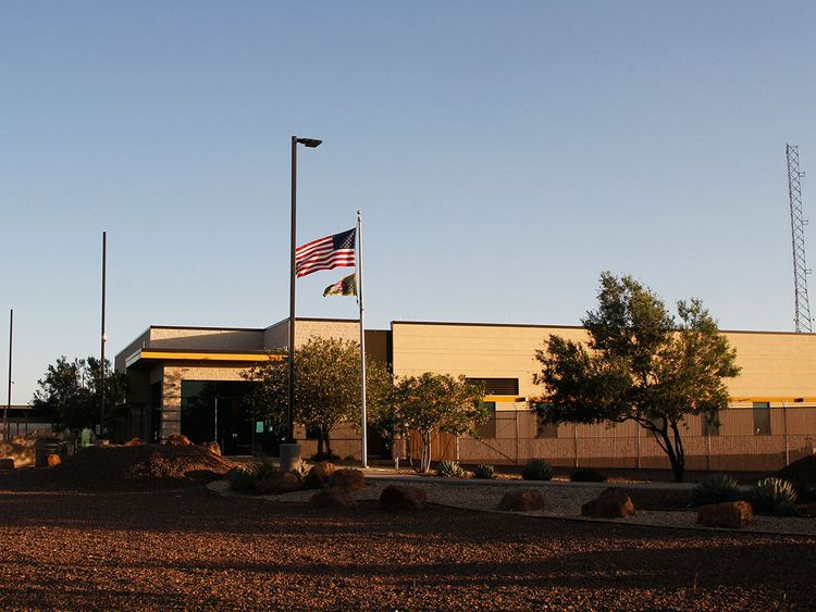 The entrance of a Border Patrol station in Clint, Texas