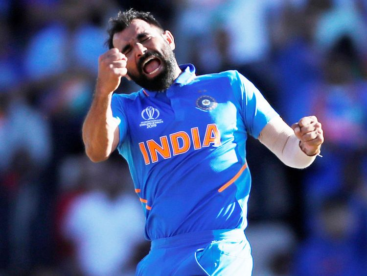 India's Mohammad Shami celebrates his hat-trick