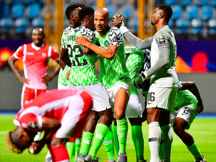 Nigeria's players celebrate their victory