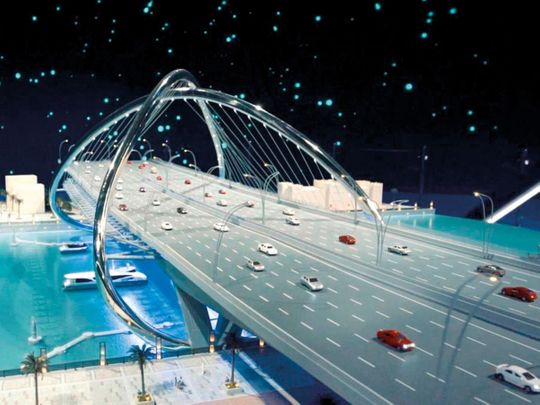 A model of the new Dh394 million Shindagha Bridge.