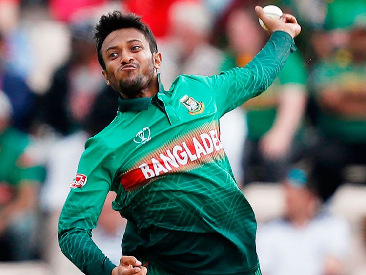 Bangladesh's Shakib Al Hasan delivers a ball