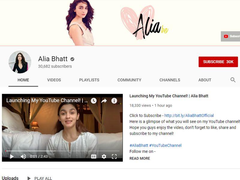 Alia Bhatt YouTube channel