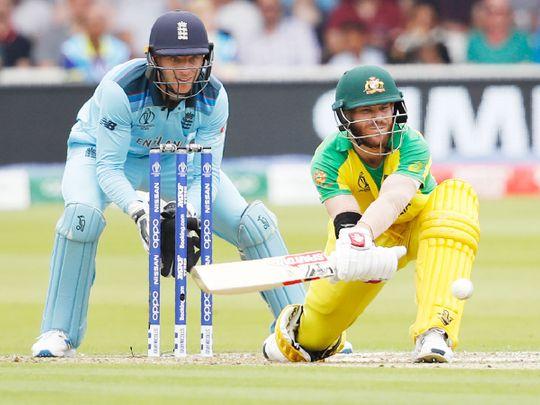Australia's David Warner plays a shot
