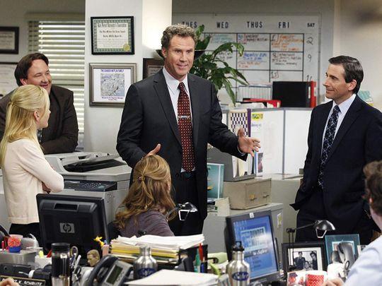 Will Ferrell, Steve Carell, Jenna Fischer, John Krasinski, Angela Kinsey, and Brian Baumgartner in The Office-1561546605791