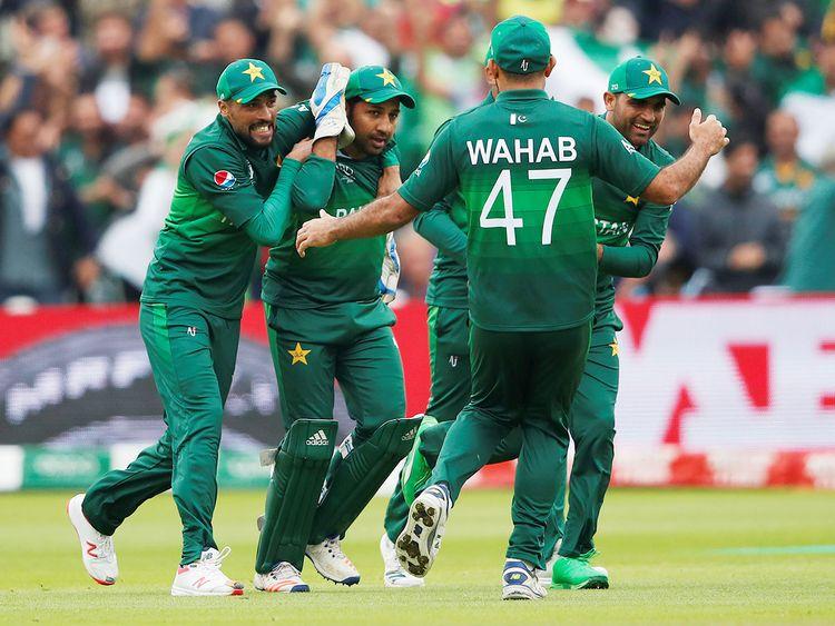 Pakistan's Sarfaraz Ahmad celebrates