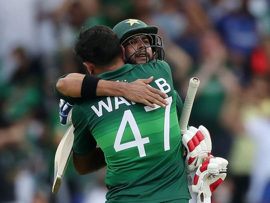 Pakistan's Imad Wasim and Wahab Riaz