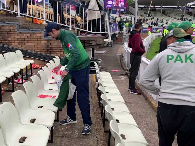 Pakistani fans clean Edgbaston where the Green Brigade defeated the Black Caps by six wickets on Wednesday.