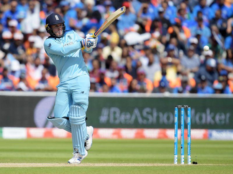 England's Jason Roy plays a shot
