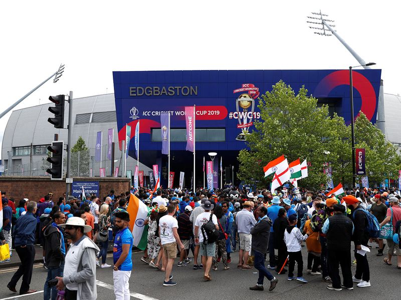 General view of fans outside the stadium before the match at Edgbaston