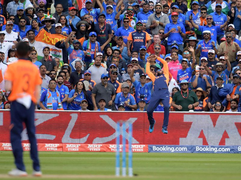 India's K.L. Rahul attempts a catch on the boundary