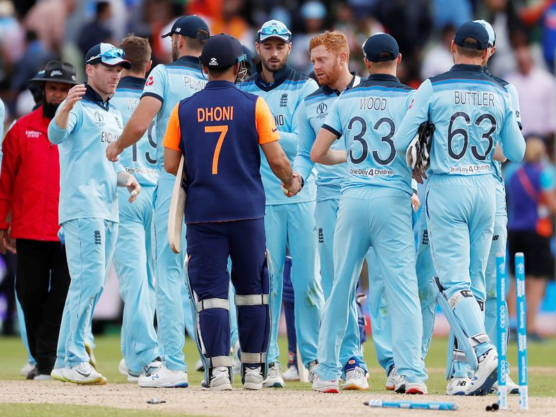 India's MS Dhoni shakes hands with England's Jonny Bairstow