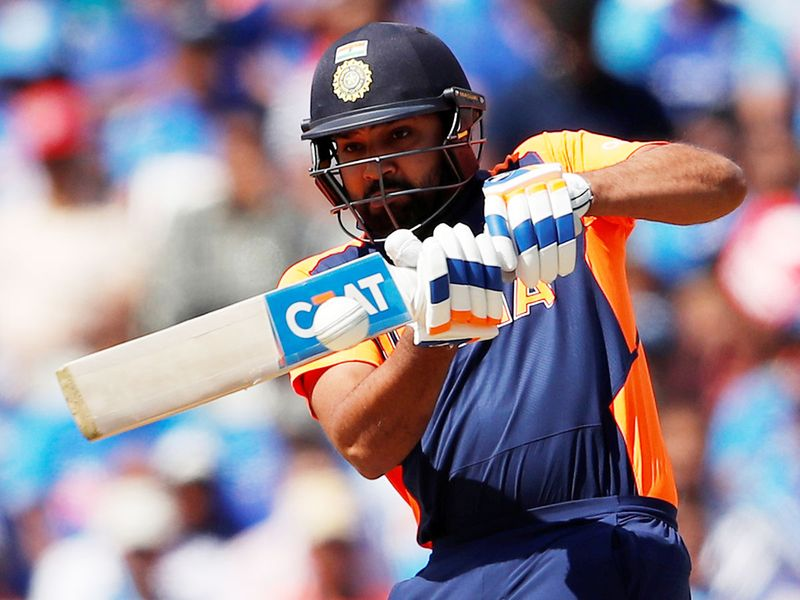 India's Rohit Sharma plays a shot