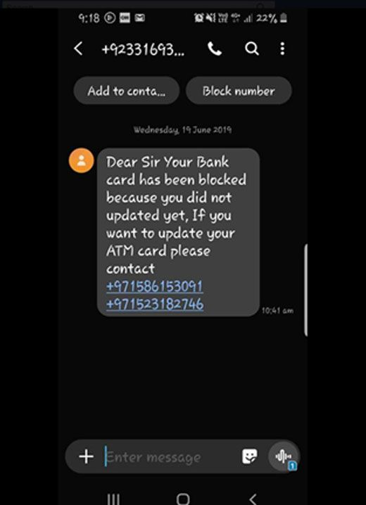 Scam message on UAE social media