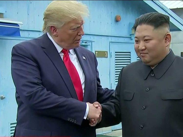 Trump and Kim Jong Un meet in DMZ (demilitarised zone)