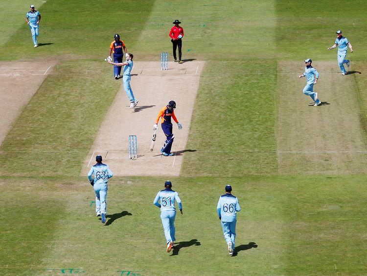 England's Chris Woakes celebrates
