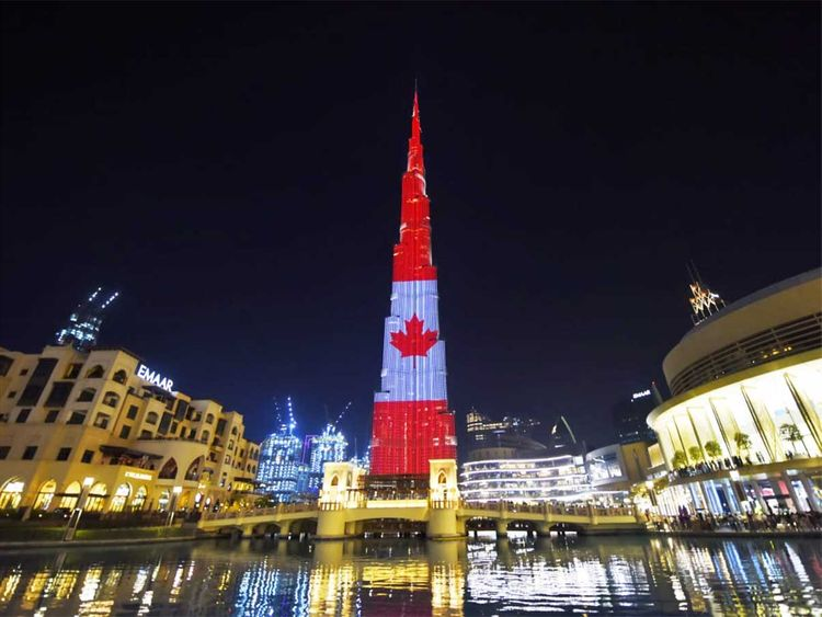 Thousands gather to watch Burj Khalifa lit up with Canadian