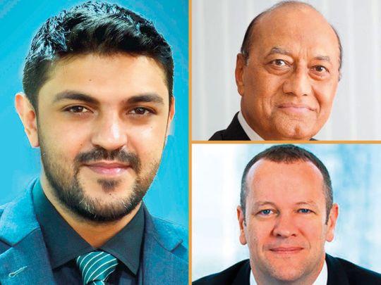 Clockwise from left: Vijay Valecha, Paras Shahdadpuri and Philip O'Riordan.