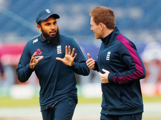 England's Eoin Morgan and Adil Rashid