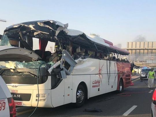 Driver of bus crash that killed 17 in Dubai blames sun shade
