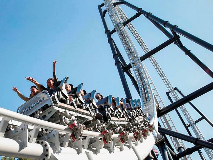 Visitors at Six Flags Magic Mountain in Valencia, California